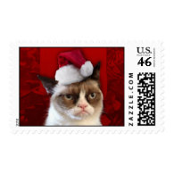Grumpy Cat in a Santa Hat Postage Stamp