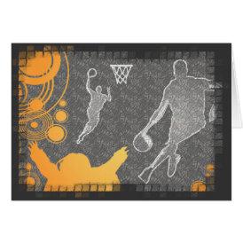 Grunge Basketball Players and Fan Card