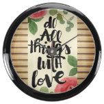 Grunge wood wall,floral, text,roses,vintage,rustic aquavista clock
