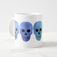 Grungy blue tones punk skulls jumbo mug on Zazzle