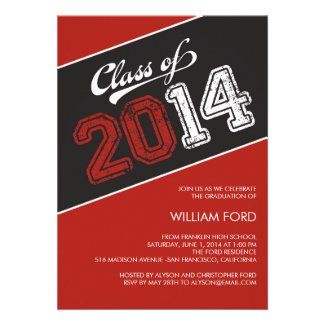 Grungy Graduate 2014 Graduation Invitation - Red