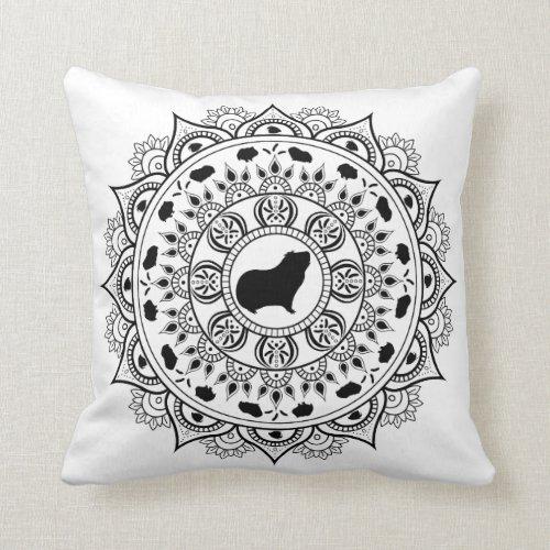 Guinea Pig Mandala Art Throw Pillow