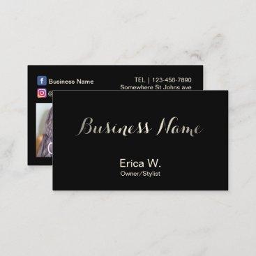 Hair Salon Social Media Custom Beauty Photo Business Card