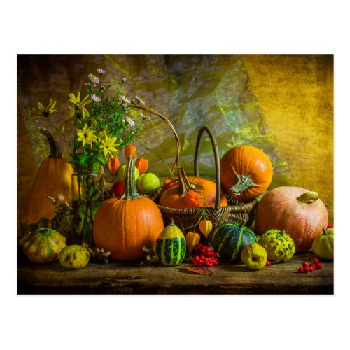Halloween Autumn Fall Pumpkin Setting Table Postcard