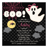 Halloween Birthday Pink Ghost Invitations
