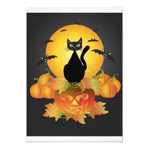 Halloween Black Cat Invitation