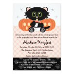 Halloween Black Cat Pink Diaper Pin Baby Shower Invitation