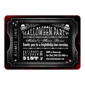 Halloween Black & White Bloody Admit One Ticket 5x7 Paper Invitation Card