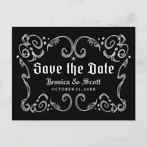 Halloween Black White Gothic Scroll Save the Date Announcement Postcard