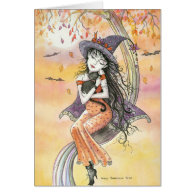 Halloween Card Witch Black Cat
