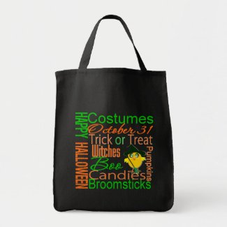 Halloween Chick Text Collage bag