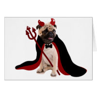 Halloween Devil Pug Card