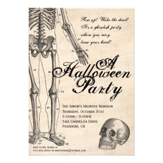 Halloween Invitation Mr. Bones Skeleton Party