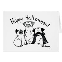 Halloween Pug Monsters Card