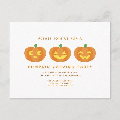Halloween Pumpkin Carving Party Postcard Invite