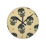 Halloween,rustic,skulls,black,pattern,vintage,tren Round Wallclock