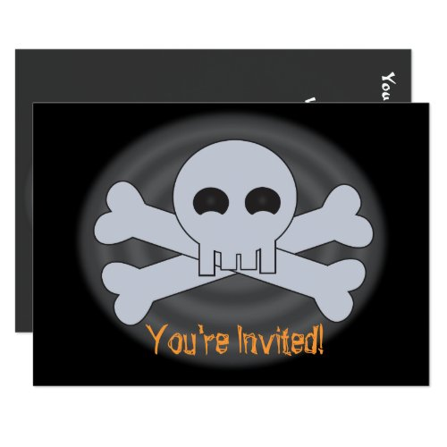 Halloween Scary Skull and Bones Invitations