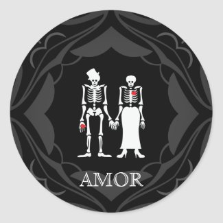 Halloween Skeleton Couple Bride & Groom Stickers