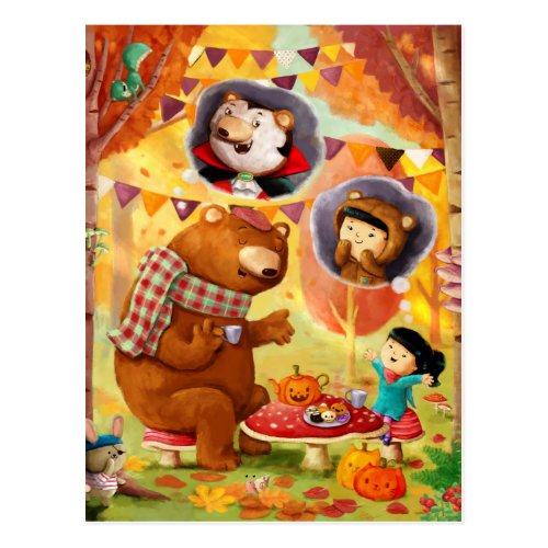 Halloween Tea Party Postcard