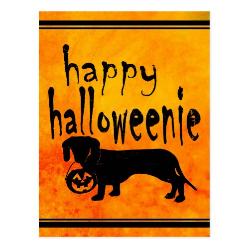 Halloween Trick or Treat Dachshund Postcard