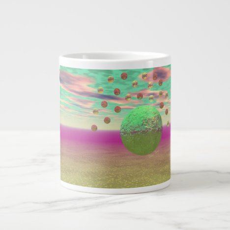 Halo of Moons, Abstract Colorful Cosmos Giant Coffee Mug
