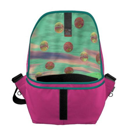 Halo of Moons, Abstract Colorful Cosmos Messenger Bag