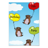 Hamster balloons, 11th birthday party card