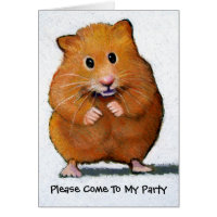 HAMSTER Please Come To My Party Card