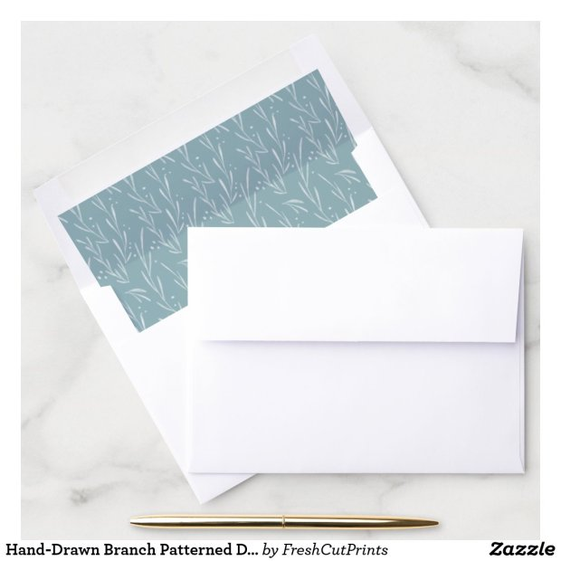 Hand-Drawn Branch Patterned Dusty Blue and White Envelope Liner