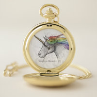Hand Drawn Magical Unicorn. Believe in Miracles. Pocket Watch