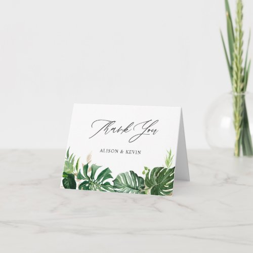 Hand Drawn Watercolor Tropical Palm Leaves Thank You Card