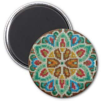 Hand embroidered bright flower refrigerator magnets