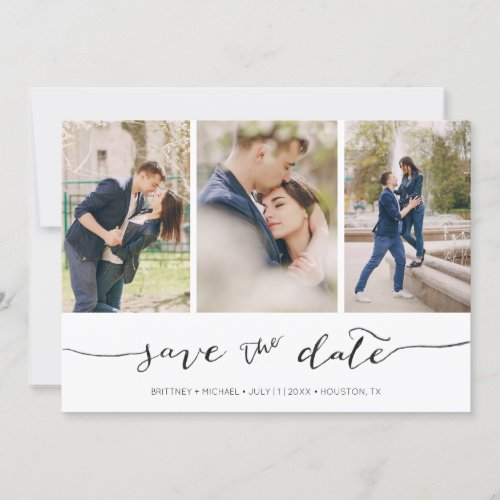 Hand Lettered 3 Image    Save the Date Card