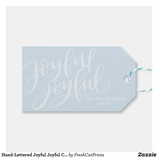 Hand-Lettered Joyful Joyful Christmas and Holiday Gift Tags