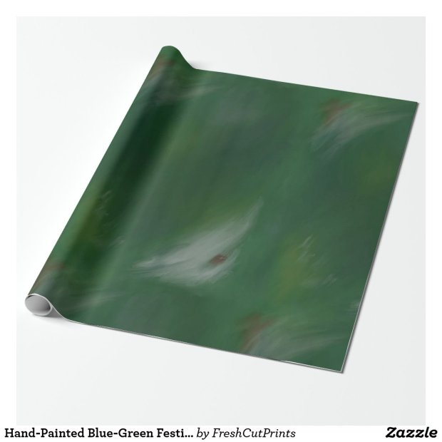 Hand-Painted Blue-Green Festive Holiday Wrapping Paper