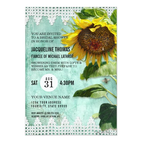 Hand Painted Sunflower Wooden Fence Bee Aqua Invitation
