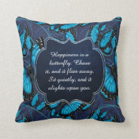 Happiness is a Butterfly: Blue Morpho Throw Pillow