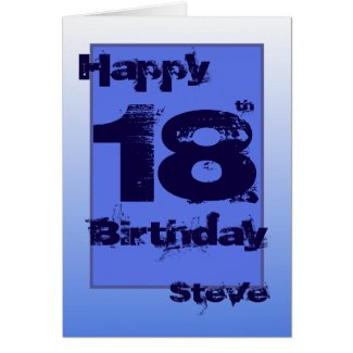 Happy 18th birthday name all blue greeting card