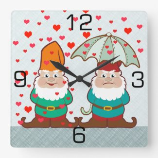 Happy and Grumpy Gnomes Square Wall Clock