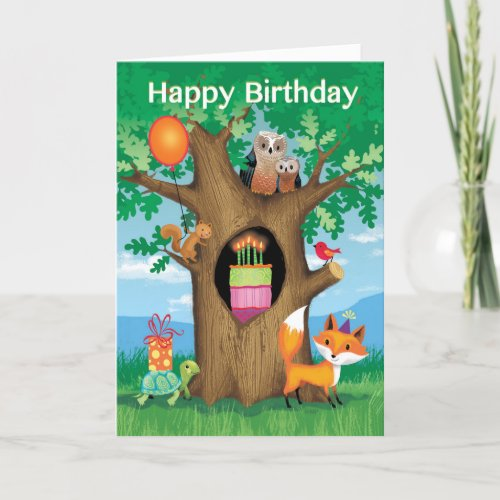 Happy Birthday Cake Owl Turtle Squirrel Red Bird Holiday Card