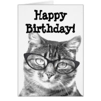 Happy Birthday card with funny cat design
