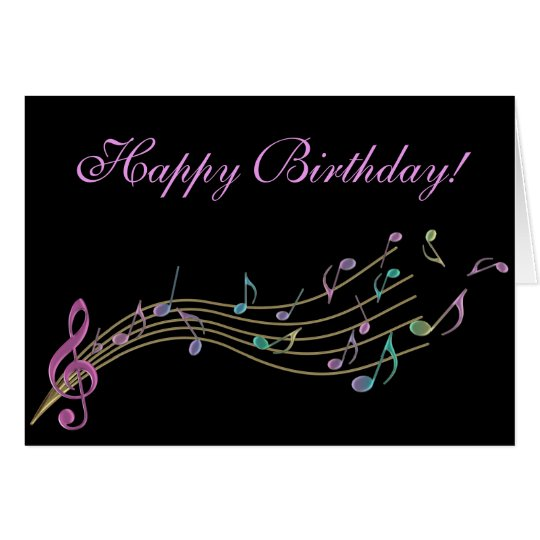 Happy Birthday Colorful Music Notes Card | Zazzle