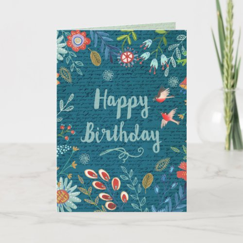 Happy Birthday Country Flowers | Greeting Card