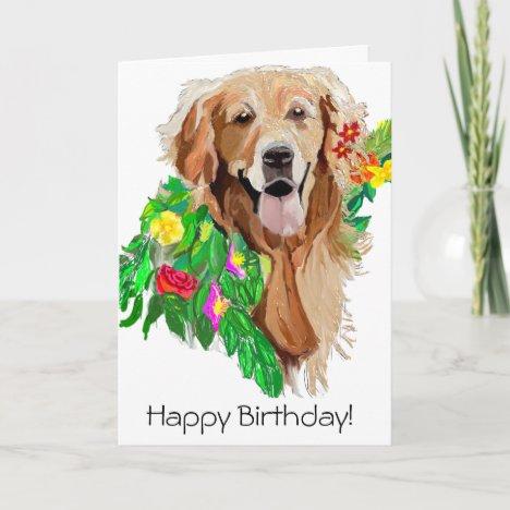 Happy Birthday Golden Retriever Card