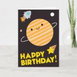 ❤️ Cute Kawaii Planet Happy Birthday In Space Card