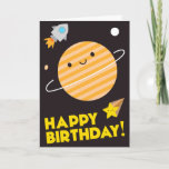 ❤️ Cute Kawaii Planet Happy Birthday In Space Card