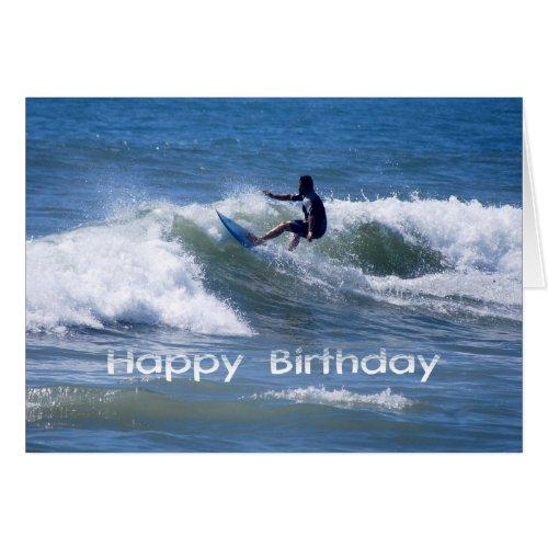 Happy Birthday Surfer Riding a Wave Card