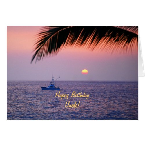 Happy Birthday Uncle Tropical Sunset Greeting Card