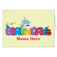 Happy Birthday Unicorn (personalized) Card