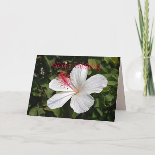 Happy Birthday White Hibiscus Card card